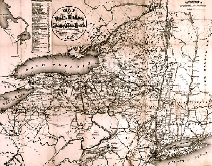 map of new york state. Railroad Map of New York State